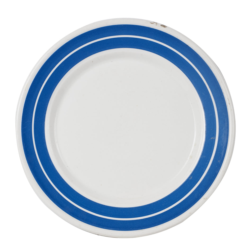 Lg White Plate With Blue Rings