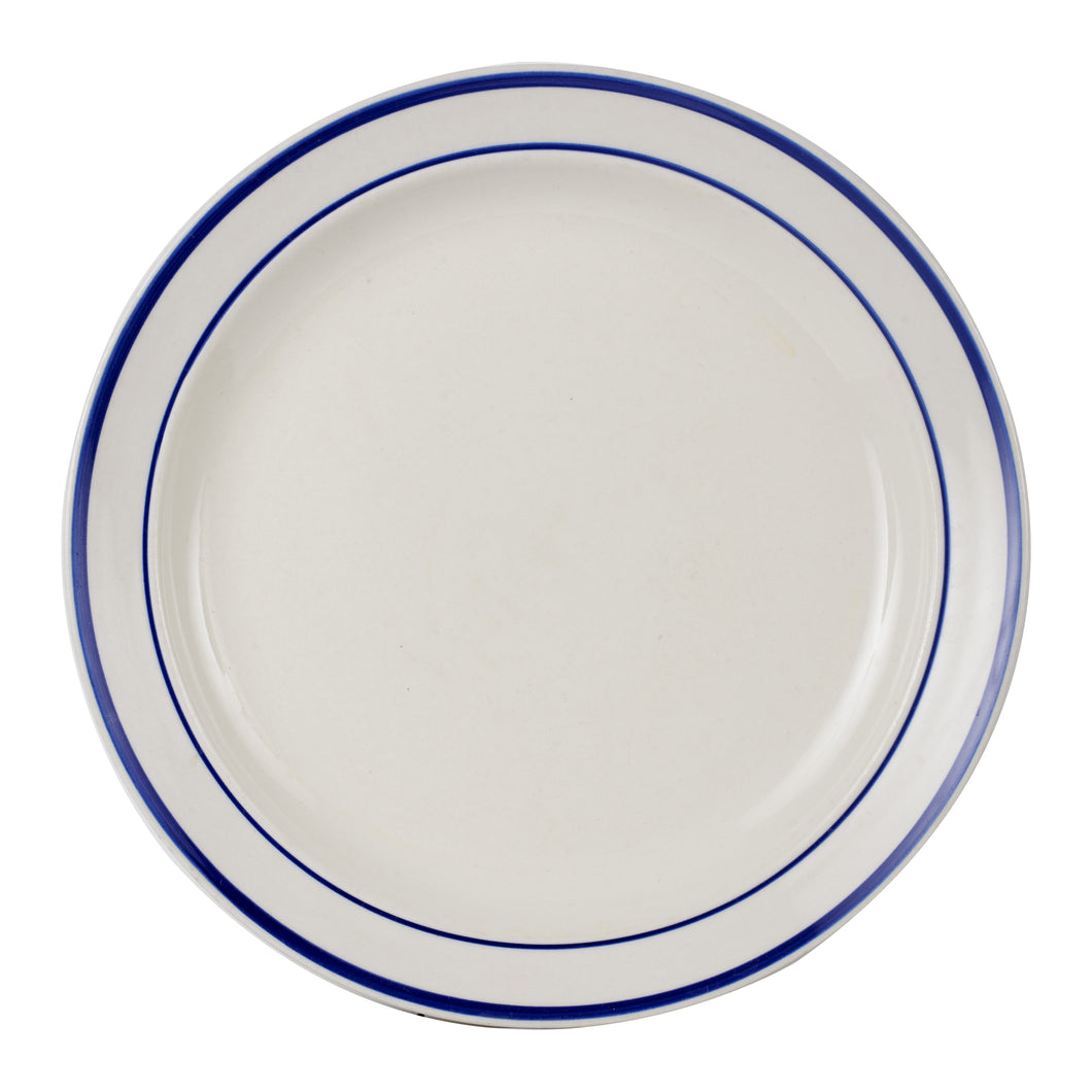 Lg White Plate With Dark Blue Rings