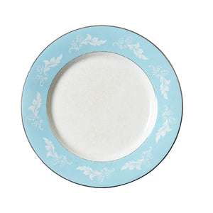 Lg Light Blue Rimmed Plate With White Foliage Pattern