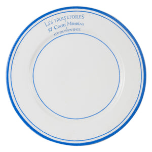 Lg French White Plate With Blue Rings And Rim