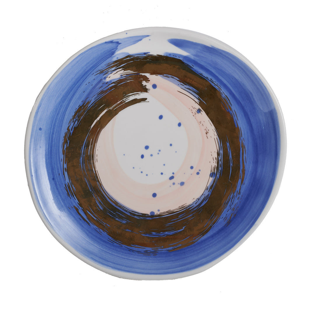 Md White Plate With Blue/Gold/Pink Brush Strokes