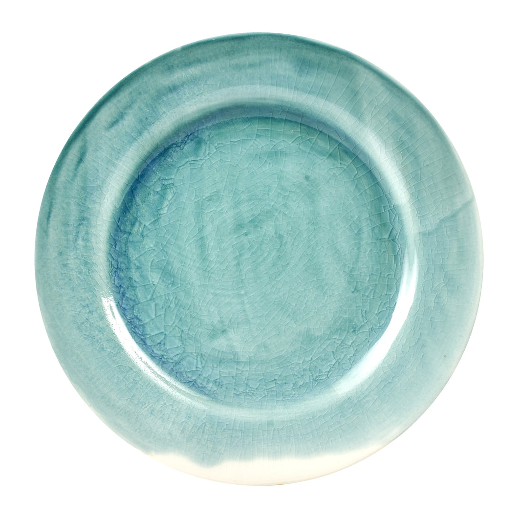 Turquoise And White Plate With Cracking Design