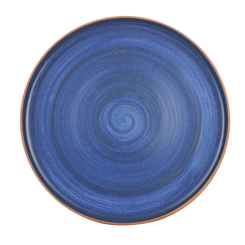 Lg Blue Plate With Brown Exterior