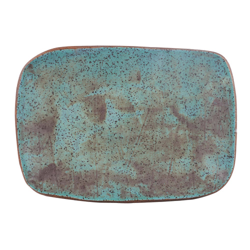 Blue Rectangle Speckled Platter
