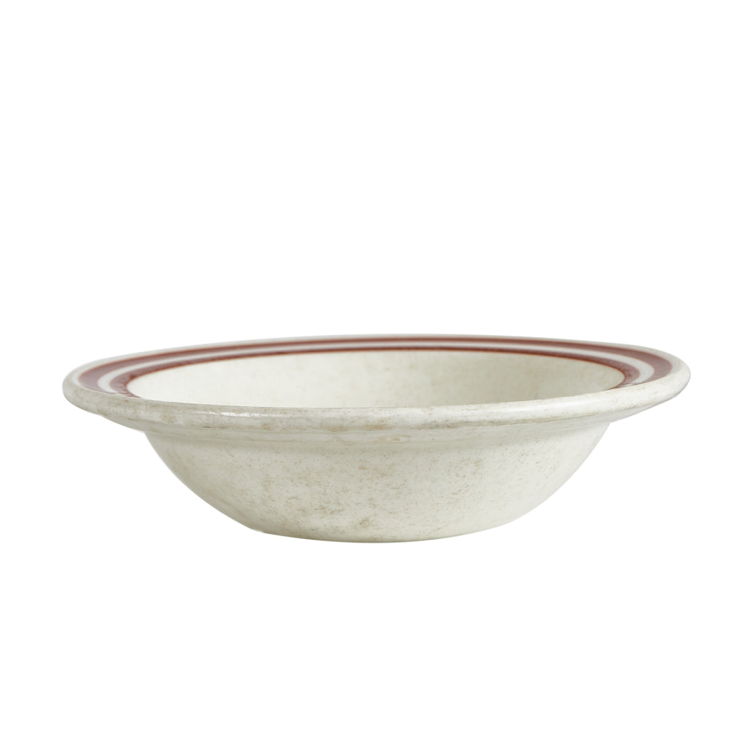 Sm Cream Bowl With Brown Rings