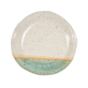 Cream And Green Plate With Speckles
