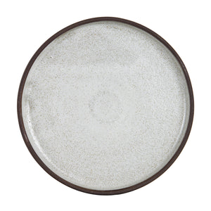 Cream Shallow Plate With Dark Bottom