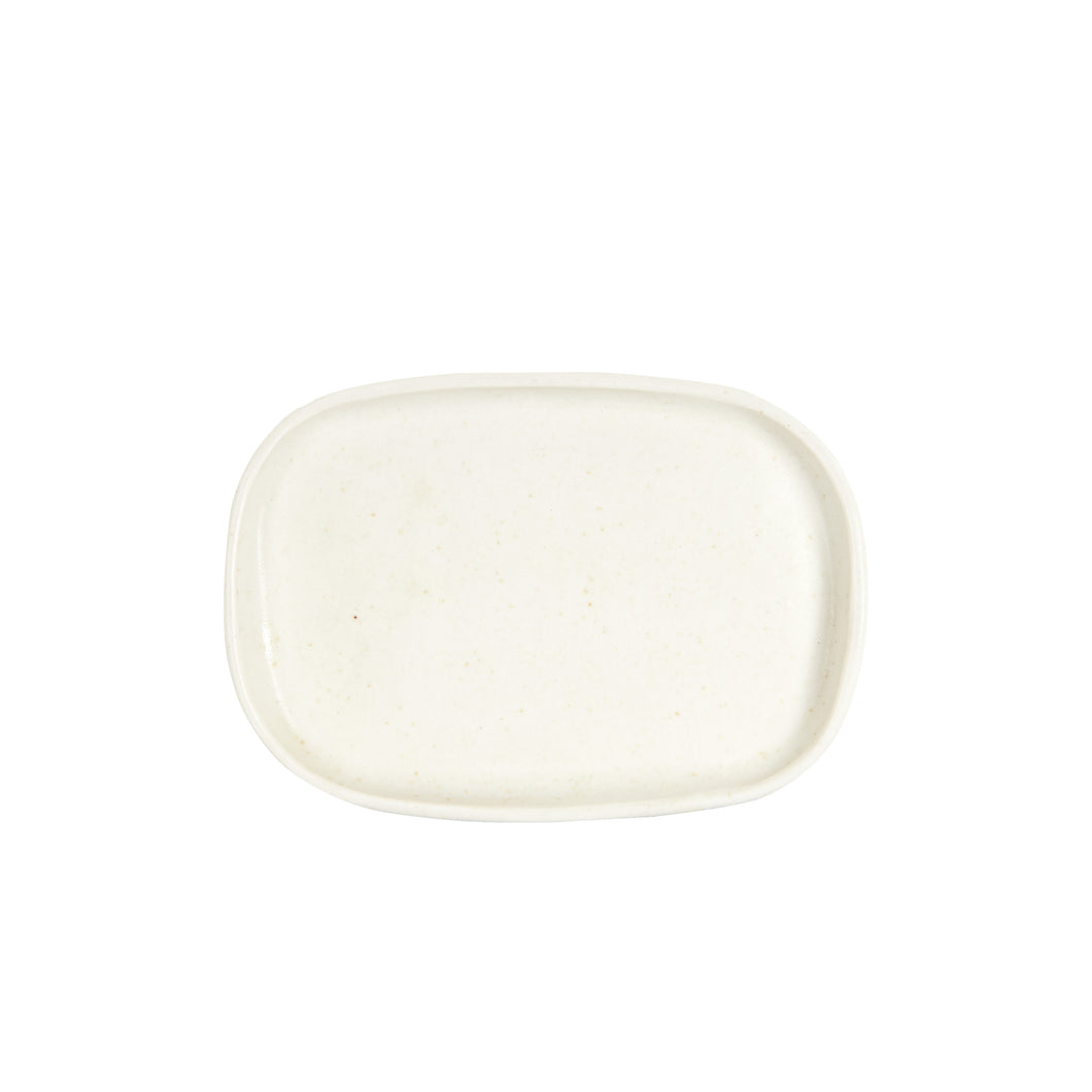 Sm Shallow Cream Rectangle Plate