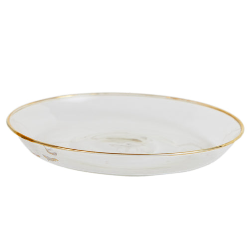 Sm Glass Shallow Bowl With Gold Rim