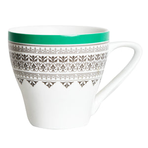 White Mug With Patterned Green And Black Rim