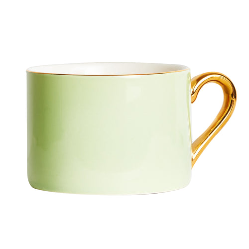 Light Green Mug With Gold Handle