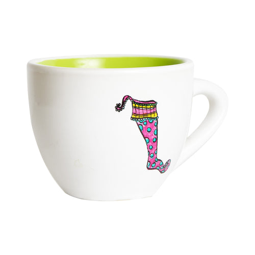 White Tea Cup With Pink Design And Green Interior