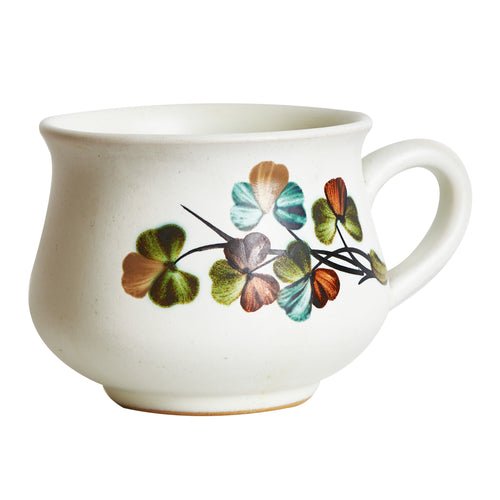 White Mug With Green Foliage Design