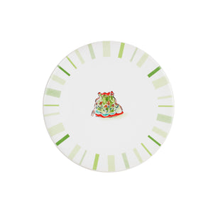 White Coaster With Green Markings