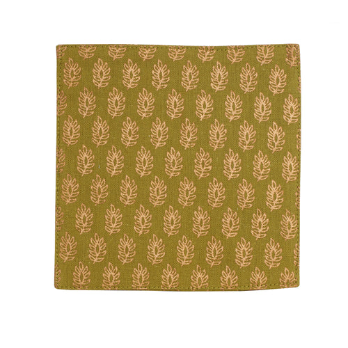 Green Linen Coaster With Leaf Print