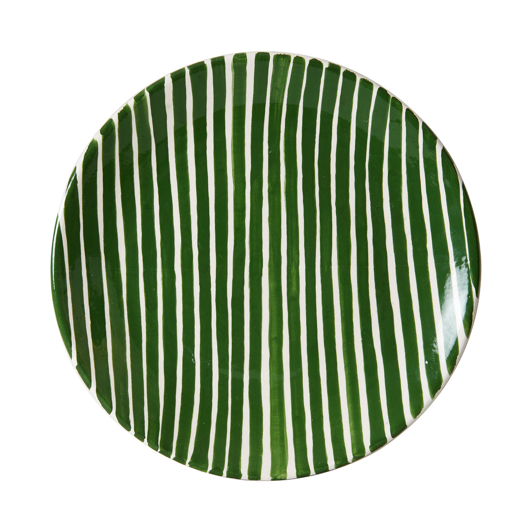 Lg Green And White Stripped Plate