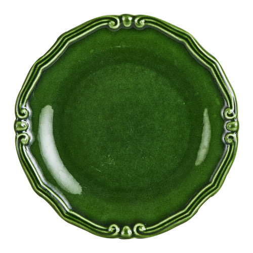 Green Plate With Floral Edge