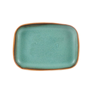 Green Rectangle Platter With Burnt Rim