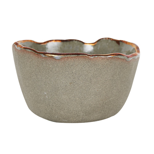 Sm Grey Bowl With Wavy Copper Rim