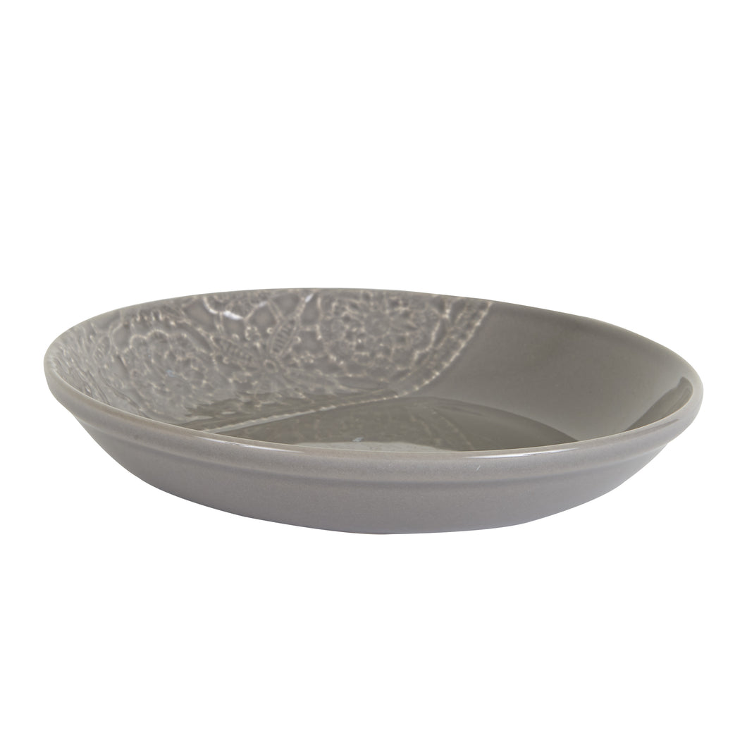 Lg Grey Bowl With Lace Pattern Print