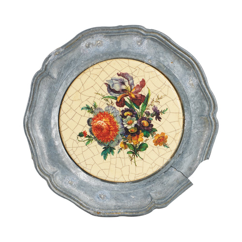 Grey Metal Coaster With Flower Print