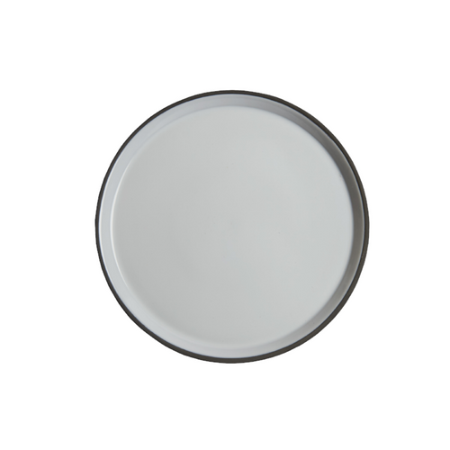 Deep Rimmed Plate, White w/ Matte Grey