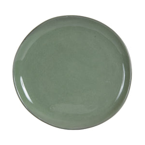Lg Dark Grey Plate With Green Under Tone