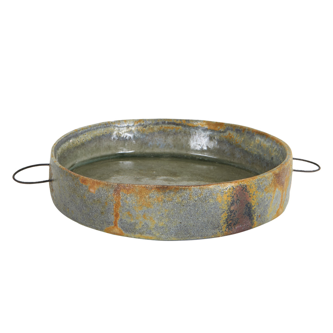 Md Grey Bowl with Metal Handles