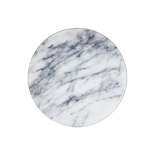 White Circular Marble Board With Dark Grey Veins And A Gold Edge