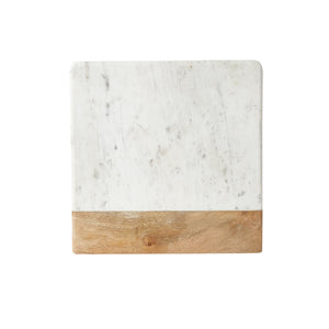 White Marble With Wood Panel