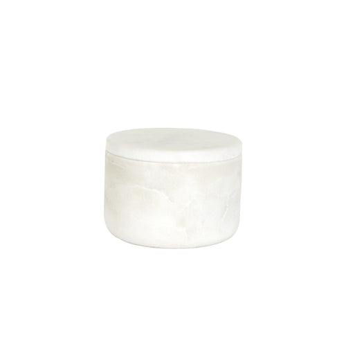 Sm White Marble Bowl With Lid