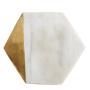 White Hexagon Marble Coaster With Gold Accent