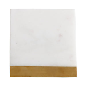 White Square Marble Coaster With Gold Accent