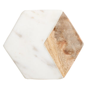 White Square Marble Coaster With Wood Accent