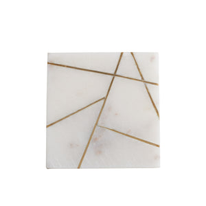 White Marble Coaster With Geometric Gold Design