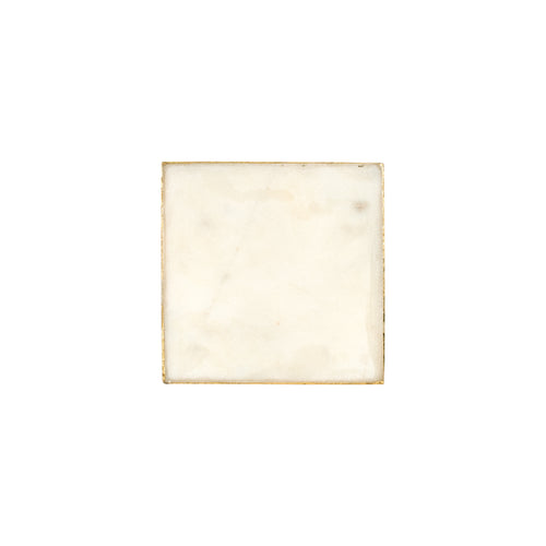 White Square Marble Coaster With Edging