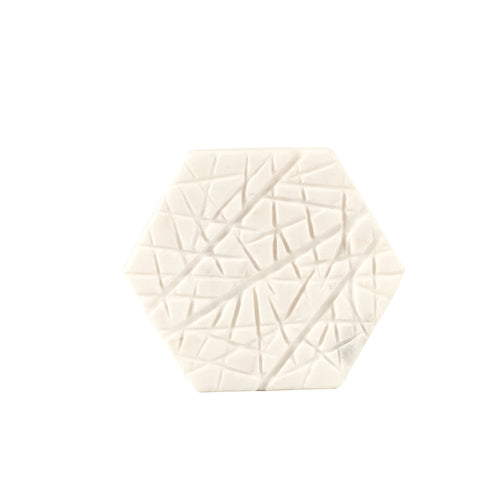 White Hexagon Marble Coaster With Texture
