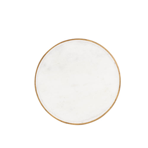 White Circle Marble Coaster With Gold Edging