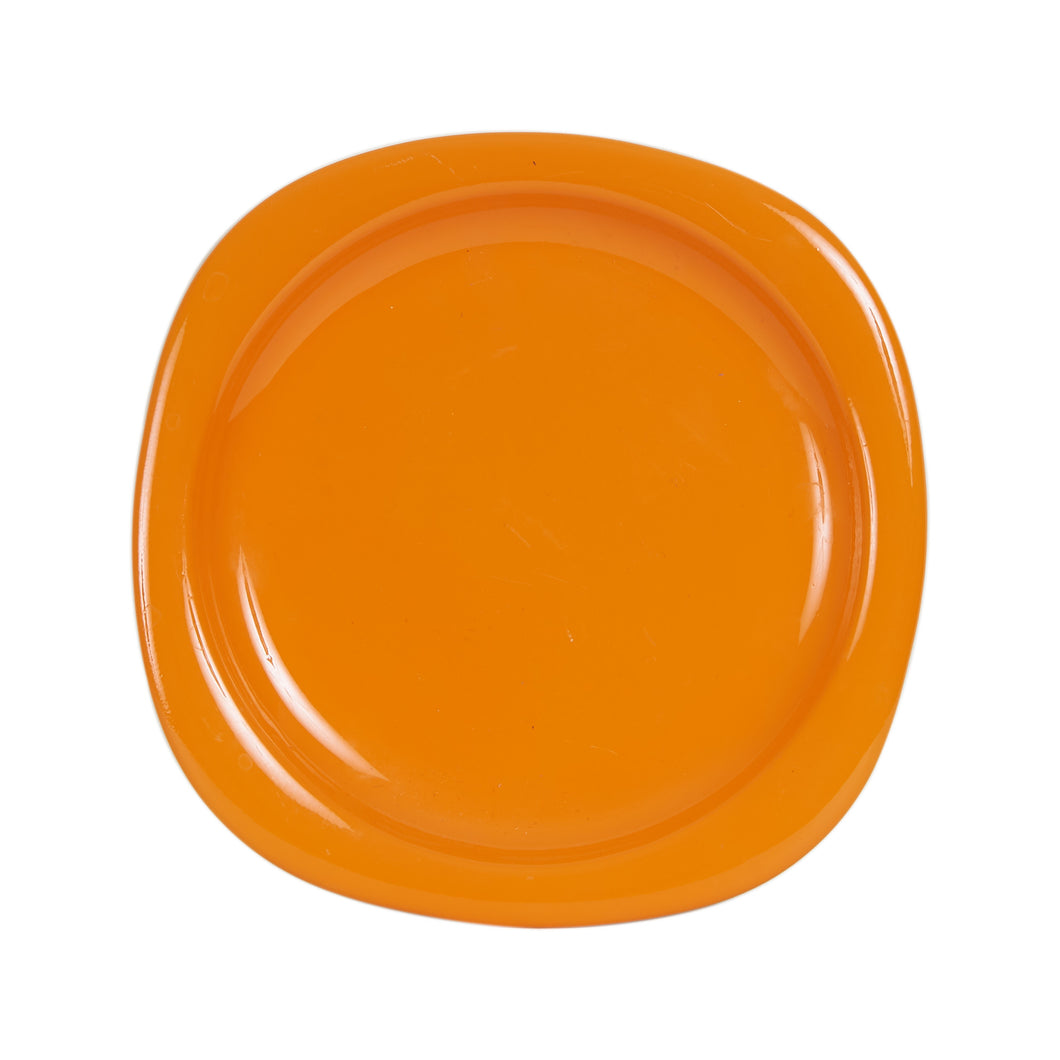 Md Bright Orange Square Plate With Rounded Corners