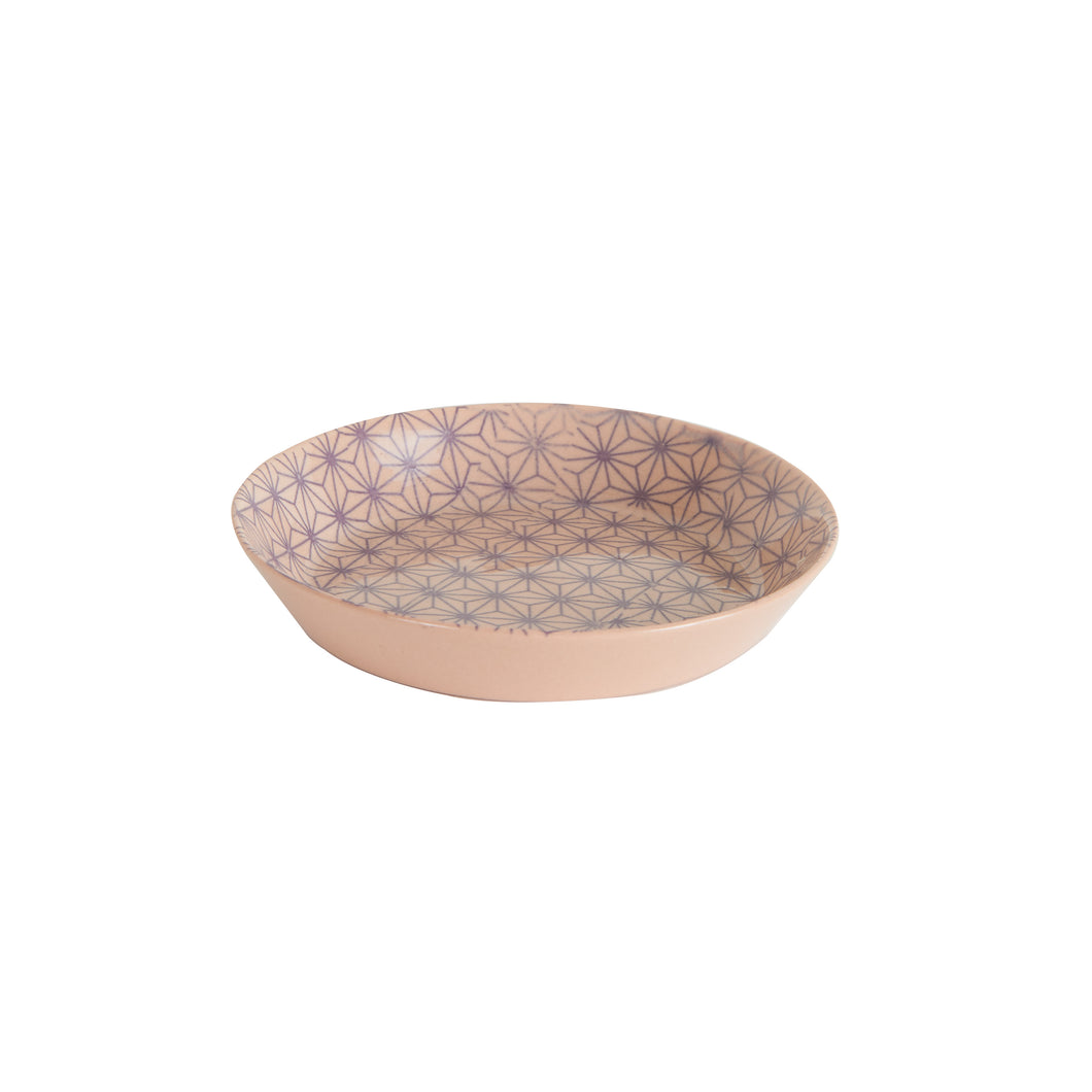 Sm Shallow Pink Bowl with Geometric Pattern