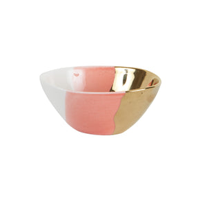 Sm Pink Bowl With White and Gold