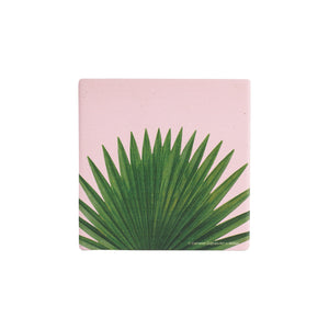 Light Pink Coaster With Tropical Foliage