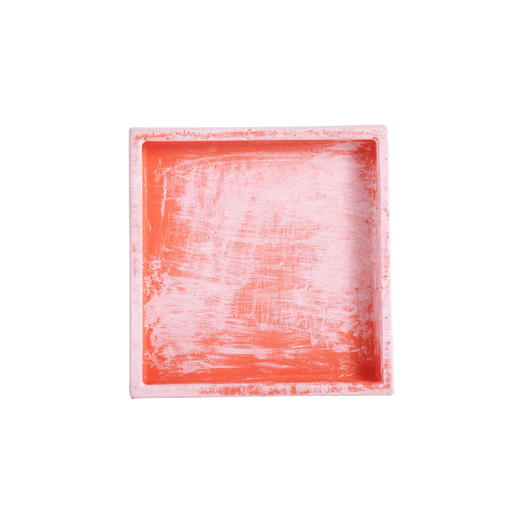 Sm Square Coral Plate With Light Pink Accents