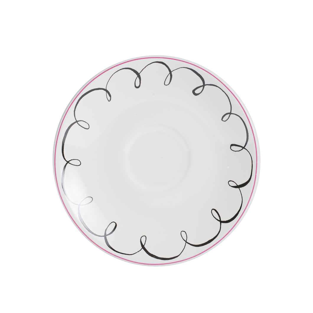 Sm White Plate With Pink and Black Line Design