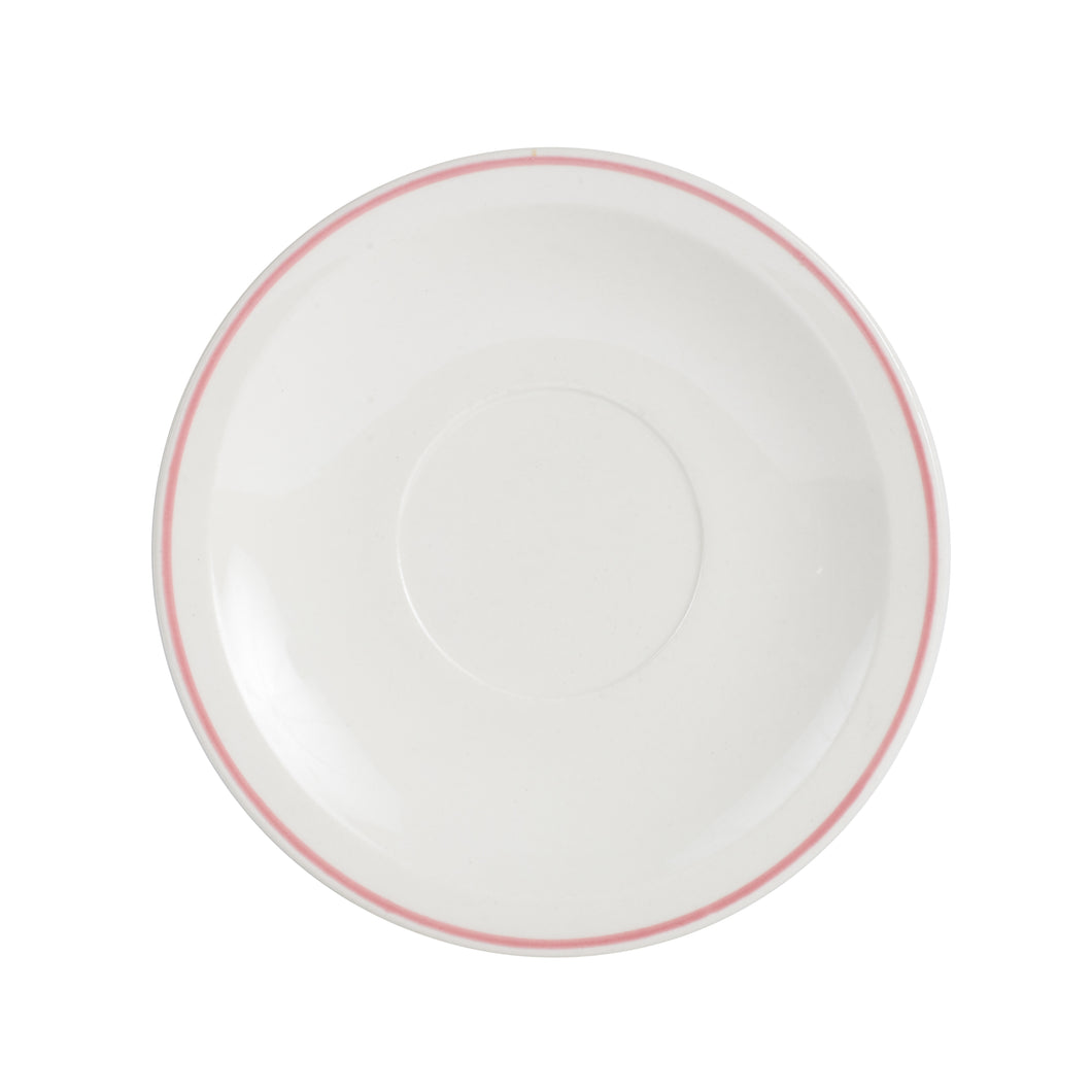Sm White Plate With Pink Rim