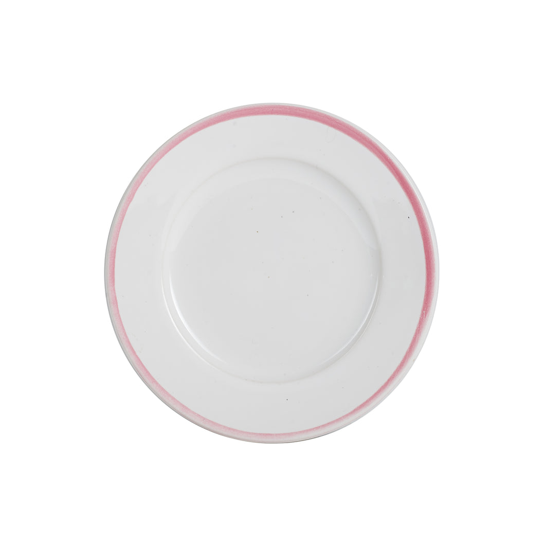 Sm White Plate With Light Pink Rim