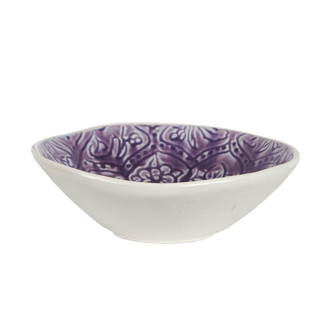 Md Purple Bowl With Flower Pattern