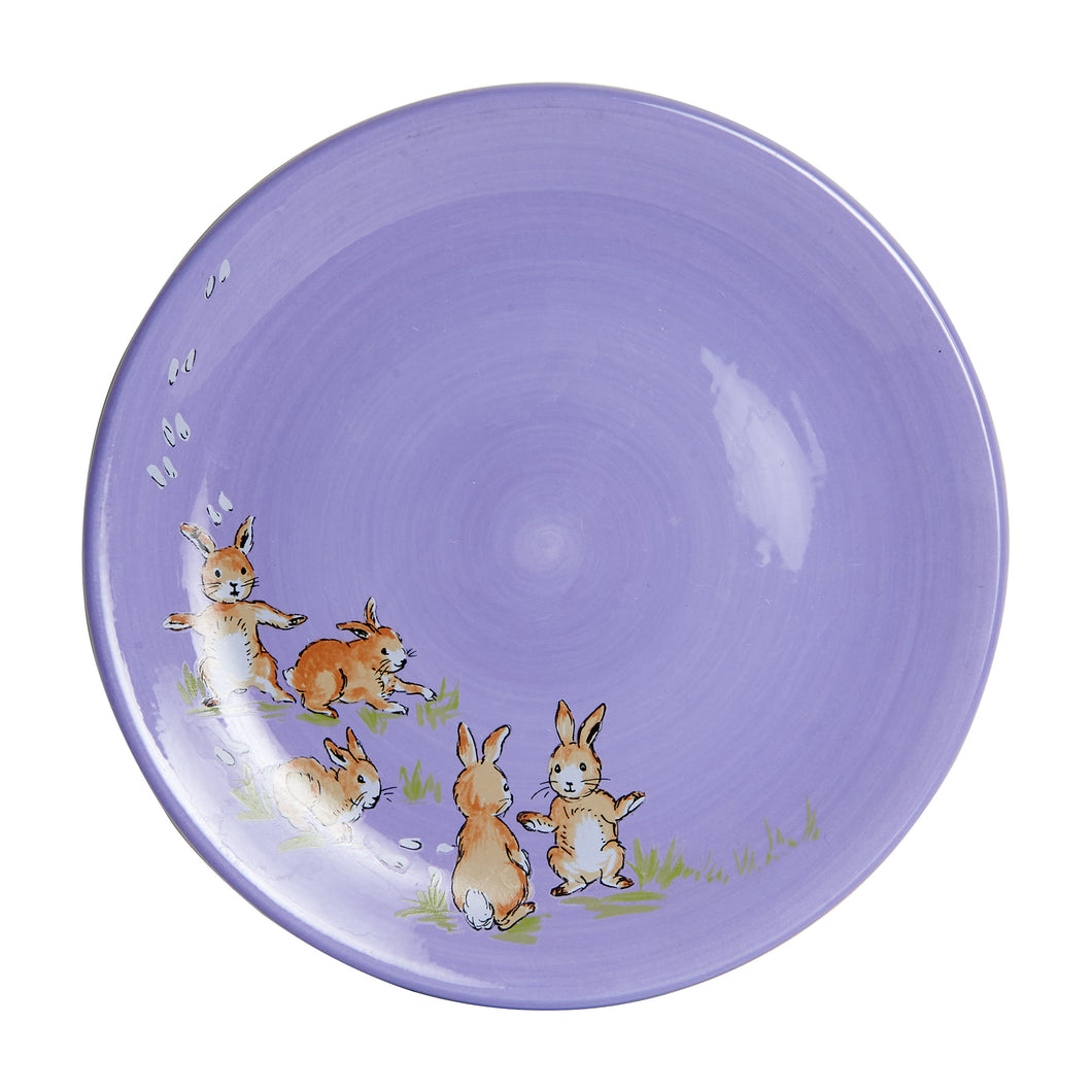Md Purple Plate With Rabbits