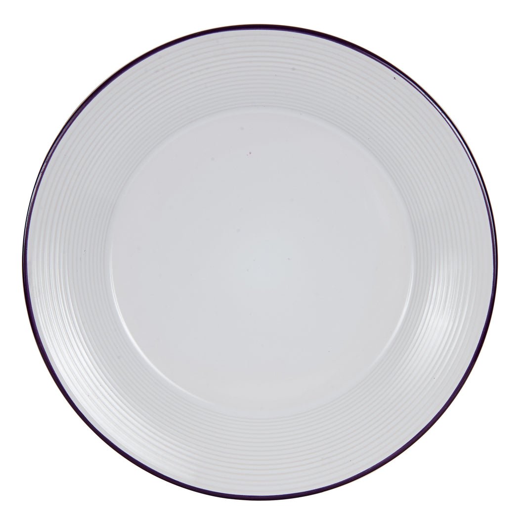 Lg White And Purple Plate With A Ring Pattern Around The Edges