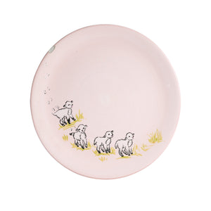 Lg Pale Pink Plate With Lambs
